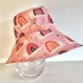 Girls summer hat in pretty rainbow snails  fabric