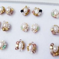 Fresh water pearl earrings, Beads earrings, Beads stitch earrings,
