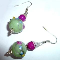 Lampwork glass and jade earrings