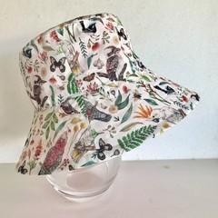 Girls summer hat in pretty birds fabric