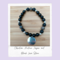 Obsidian, Picture Jasper & Black Lava Stone-Gemstone Stretch Bracelet