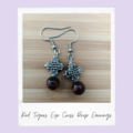 Red Tigers Eye Cross Gemstone Earrings