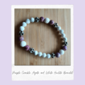 Purple Crackle Agate & White Lava Stone-Gemstone Stretch Bracelet