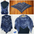 Night Wings - Shades of blue shawlette / small shawl in the shapes of wings.
