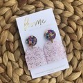 Recycled Pink Gold Blue Glitter Arch Acrylic Dangles | Ecofriendly
