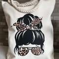 Messy Bun (Leopard print) Tote Bag