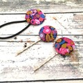Floral Hair Pin and Hair Tie Set for Ladies /Fabric Button Bobby Pins and Hair B
