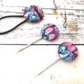 Blue and Pink Fabric Button Bobby Pins and Hair Tie Set for Ladies
