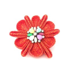 Orange Flower Brooch with colorful embellishment / Gifts for her