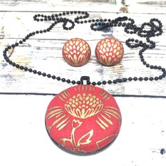 Red and Gold Flower Necklace Pendant and Earrings Set