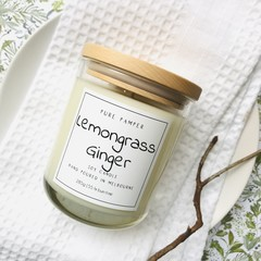 Highly Scented Soy Candle - Lemongrass & Ginger | Refreshing & Spicy