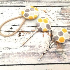 Honeycomb Hair Pins and Hair Tie Set for Ladies  / Fabric Button Bobby Pins