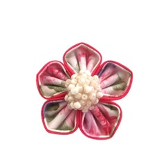 Pink Fabric Flower Brooch or Pin for Ladies with Cluster Beads