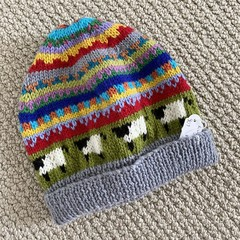 Grey sheep Beanie - to fit approx size 4-8 years -hand knitted