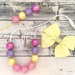 Girls Gift Set - Bow, Chunky Beaded Necklace and Bag Charm / Yellow, Pink and Pu