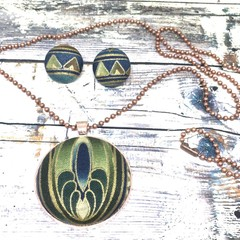 Green Textile Jewellery Set / Fabric Button Necklace and Earrings Set for Mum