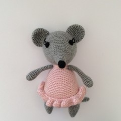 Mouse, Ballerina, Crochet, toy, gift, nursery, baby, children