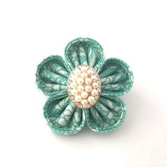 Fabric Flower Brooch Pin with Pearl and Rhinestone Embellishment