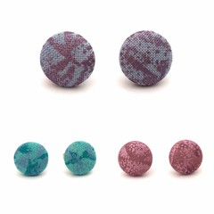 Mini Stud Earrings / Fabric Button Earrings - Lavender, Green and Pink