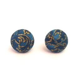 Blue and Gold Fabric Button Earrings on Surgical Stainless Steel Post