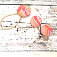 Fabric Button Bobby Pins and Hair Tie for Ladies with Swirl Prints - Peach Coral