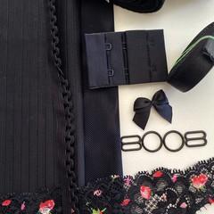 Black Pinstripe Bra Making Kit