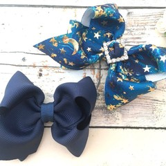 Star and Moon Bow Set / Set of Two Hair Bows - Blue and Galaxy Print