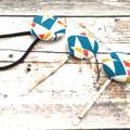 Teal Ladies Hair Bobby Pins and Hair Tie Set - Geometric Pattern