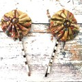 Oriental Style Fabric Hair Pins with Beads / Gold Colour Bobby Pins for Ladies