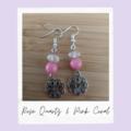 Rose Quartz & Pink Coral Gemstone Flower Dangle Earrings
