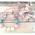 Bubblegum Bead Necklace and Hair Bow Set for Girls / Gift Set for Kids