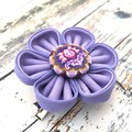 Lavender Fabric Flower Brooch or Hair Clip for Women
