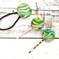 Fabric Button Bobby Pins and Hair Tie Set for Women / Green Hair Accessories
