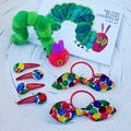 [Gift Set} The Very Hungry Caterpillar Hair Clips & Knot Hair Tie Set