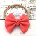 Fabric Bow Headband in Soft Nylon Elastic  - Coral Pink, Orange and Royal Purple
