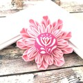 Pink Flower Pin or Hair Clip / Dahlia Inspired Fabric Brooch for Women