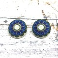 Blue Flower Necklace Pendant and Earrings Set  / Fabric Jewellery