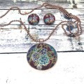 Fabric Button Necklace and Earrings Set / Pendant Necklace  and Fabric Earrings