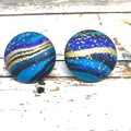 Fabric Stud Earrings and Necklace Set in blue, black and gold  metallic swirls
