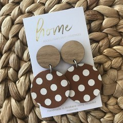 Recycled Brown White Dotty Timber Dangles | Sustainable Fashion