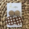 Recycled Brown White Dotty Timber Dangles   Sustainable Fashion