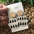 Recycled Eco  Black White Timber Dangles | Sustainable Fashion