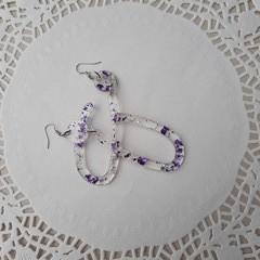 Resin drop dangle earrings hoops