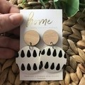 Recycled Eco  Black White Timber Dangles   Sustainable Fashion