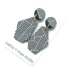 Diagonal Stripe black and white wedge statement earrings