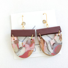 AUTUMN POSY - U Shape Dusty Dangles w/ Recycled Leather - Statement Earrings