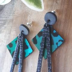 """""""Geo"""" Studded Dangle Earrings, Genuine Leather/ Cla, Black/Green Leopard"""