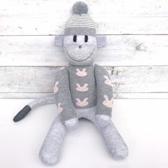 'Ash' the Sock Monkey - grey with bunny sweater - *READY TO POST* (EASTER)