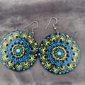 Hand painted unique dot mandala earrings