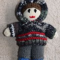 Hand Knitted Boy Hoodie Doll